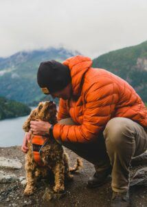 puppy & owner in the outdoors